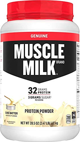 Muscle Milk Genuine Protein Powder, Cake Batter, 32g Protein, 2.47 Pound, 16 Servings