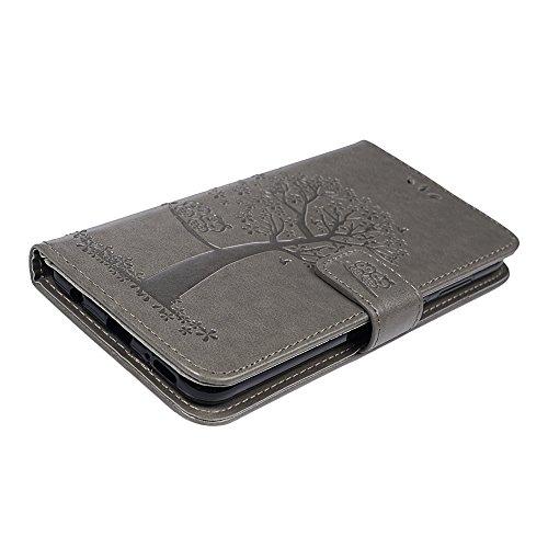 YOKIRIN Huawei Honor 7X Lederhülle Hülle Case für Huawei Honor 7X Flipcase Tasche Handyhülle Etui Eule Baum Muster PU Leder Schutzhülle Schale Kartenfächer Magnetverschluss Handyhalter Grau - 5