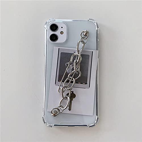 DEIOKL INS Fashion Chain Pulsera de muñeca Cajas Suaves para teléfonos para iPhone 11 12 Mini Pro MAX XS XR 7 8 Plus X Cubierta Transparente, 1, para iPhone 8