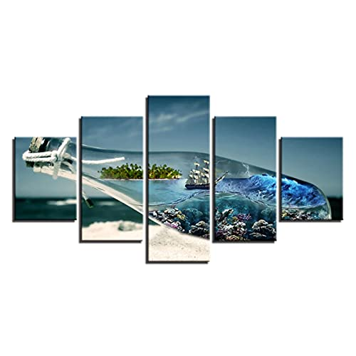 Arte de pared póster modular imágenes de la sala de estar decoración del hogar 5 paneles hermosa botella de deriva pintura en lienzo impresa HD