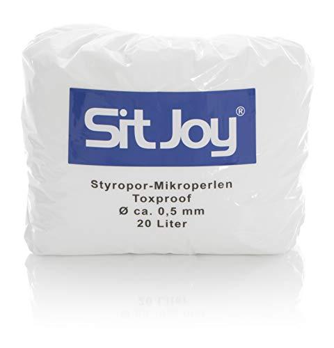 Sitjoy Sitzsack-Füllung | Styropor-Mikro-Perlen schadstoffgeprüft [Ø ca. 0,5 mm] | 20 Liter | – EPS Styropor-Kugeln und Kügelchen für Kissen