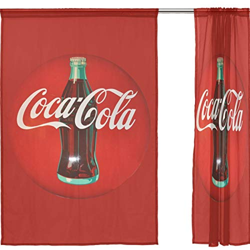 J.COXLOD Sheer Window Curtain Panels Individual Coke Print for Kitchen, Bedroom and Living Room, 55x78, 2 Count