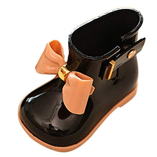 VEKDONE Toddler Bow Rain Boot Baby Boys Girls Cute Jelly Shoes Black