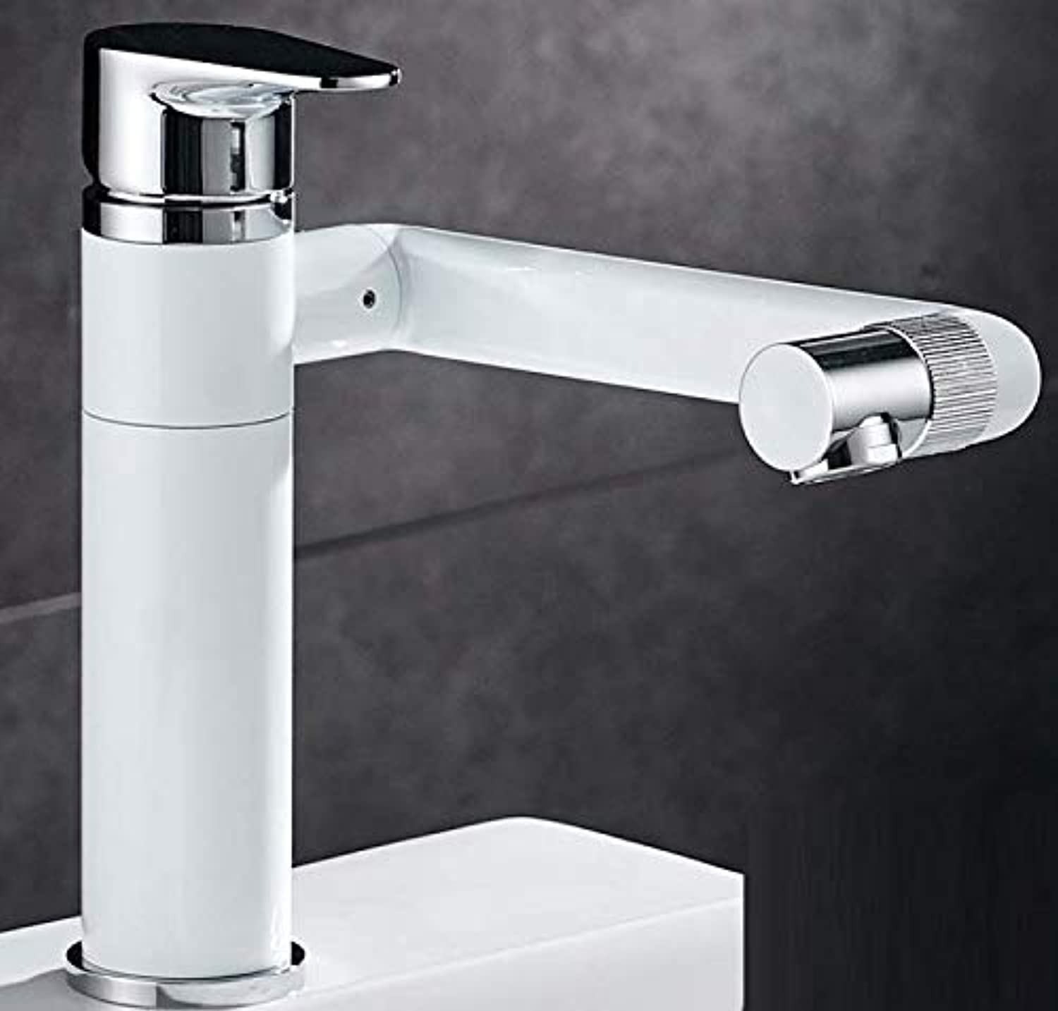 Bathroom Faucet Full Copper Basin Hot and Cold Water Faucet Can Be redated On The Upper and Lower Basins, High Faucet, Bathroom, Washbasin, White Paint