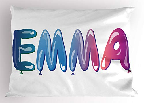 ABAKUHAUS Emma Siersloop voor kussen, Vrouwelijke Balloon Naam, standaard maat bedrukte kussensloop, 75 x 50 cm, Veelkleurig