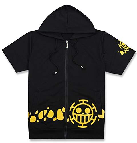 WANHONGYUE One Piece Anime T-Shirt Unisex Cosplay Trafalgar Law Zip Hoodie Jacke Black XXL