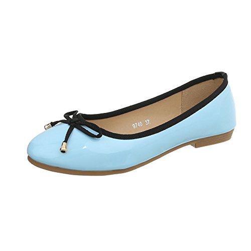 Ital-Design Klassische Ballerinas Damen-Schuhe Blockabsatz Hellblau, Gr 38, 9740-