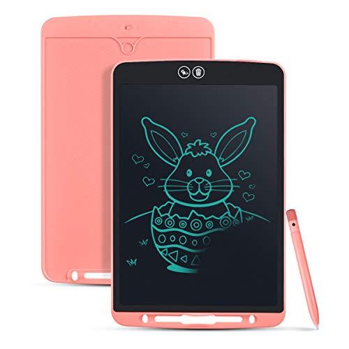 Funkprofi 12 Zoll LCD Schreibtafel Teilweise Löschbares Writing Tablet mit Anti-Clearance Funktion und Dicke Linien,Grafiktabletts Schreibplatte Papierlos für Schreiben Malen als Geschenk (Rosa)