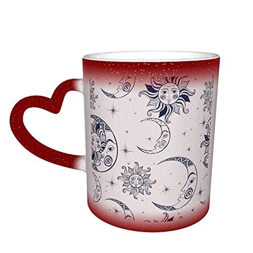 MENYUAN Taza de café con sol y luna mágica sensible al calor color cambiante taza en el cielo tazas de café regalos personalizados para los amantes de la familia amigos