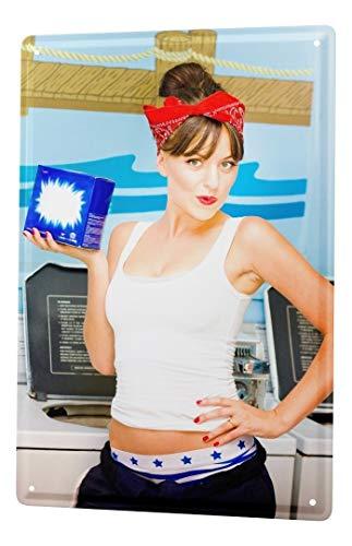 LEotiE SINCE 2004 Blechschild Dekoschild Nostalgie Jorgensen Fotografie Foto Bilder Model Waschmittel Waschsalon Waschmaschine 20x30 cm