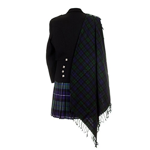 The Scotland Kilt Company Neu Tartan Schottische Purled Fransen Budget Fly Plaid für Kilts in Palette mit Tartans - Schwarze Armbanduhr, Einheitsgröße