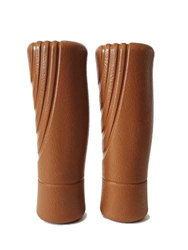 Pik Ergonomic Bicycle Handle Grips – Set of Two/PVC Leather-Like Texture/Easy to Install on Bike Handlebar/for Men Women Children (Brown, One Short-One Long)