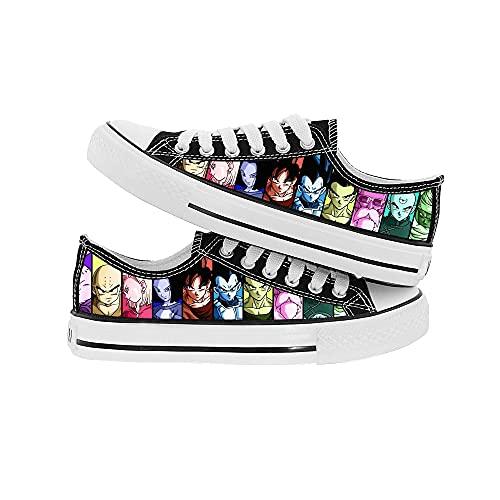 JPTYJ Cómic de Dibujos Animados Son Goku/Vegeta IV Zapatos de Lona Unisex Zapatillas Zapatos con Cordones de Anime A-40