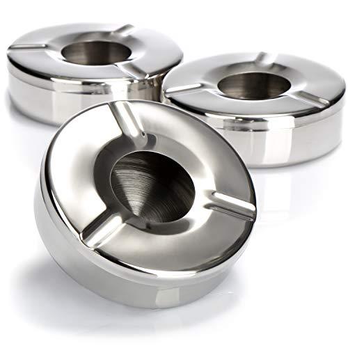 com-four® Cenicero 3X de Acero Inoxidable - Cenicero contra Viento con Tapa extraíble para Proteger contra Cenizas Volantes - Ø 11 cm (003 Piezas - Acero Inoxidable)