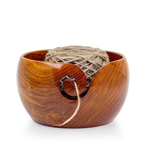 Nagina International Premium Rosewood Crafted Wooden Portable Yarn Bowl | Knitting Bowls | Crochet Holder (7 x 7 x 4 Inches)