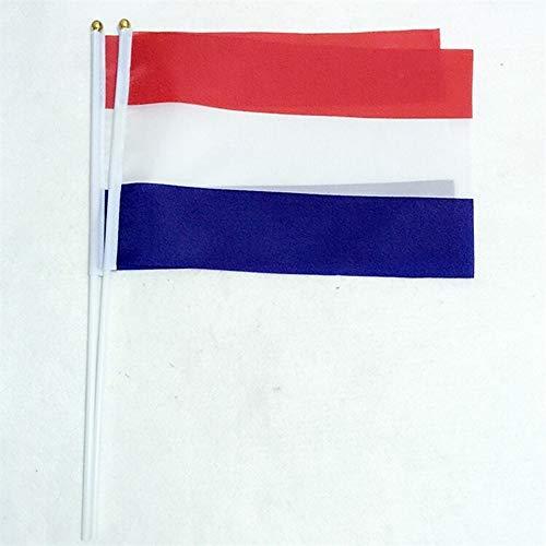 50st The Small Vlag van Nederland, 14 * 21cm Holland Vlaggen Hand nationale vlag met Pole Overhandigen Vlag Nederlands Vlag, Activiteit/parade/Festival Decoratie