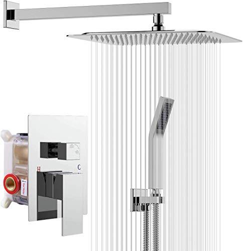 Rainsworth Duschsystem Unterputz für Badezimmer - Hochmoderne Air Injection Technology - 25 * 25cm quadratischer Regenduschkopf - Einfache Installation - Edelstahl und Messing - Chrom. …