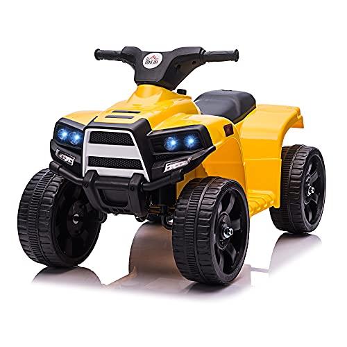 homcom Quad per Bambini ATV Elettrico 6V con Fari e Clacson, velocità 3km/h, età 18-36 Mesi, 65x40x43cm, Nero Giallo