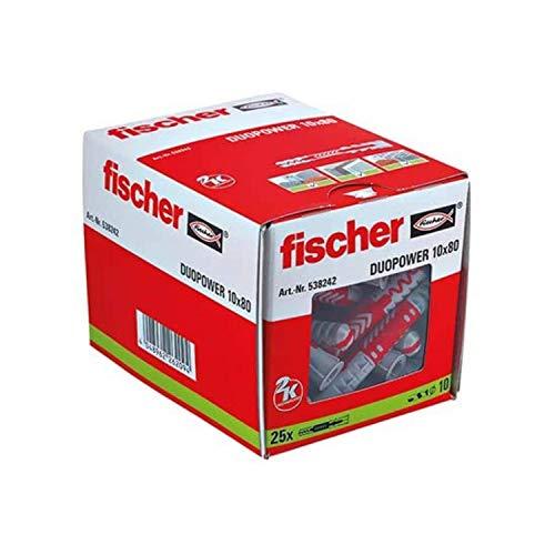 Fischer Taco Duopower L Uds, 538242, Gris y Rojo, 10x80 (Caja 25 tacos)