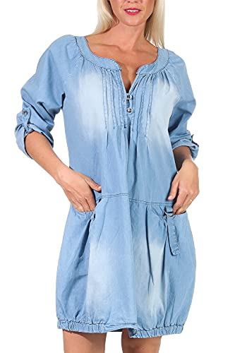 Malito Mujer Jeans Vestida Bata Prenda Algodón 6255 (Azul Claro)