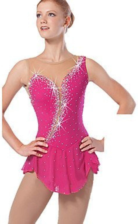 Heart&M Handmade Ice Skating Dress for Girls Women Figure Skating Competition Costume Skating Dress Rhinestone Sleeveless pink Red