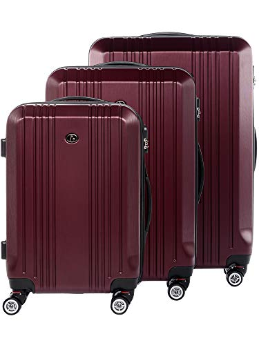 FERGÉ Luggage Set 3 Piece Hard Shell Travel Trolley Cannes Suitcase Set 4 Twin Spinner Wheels red