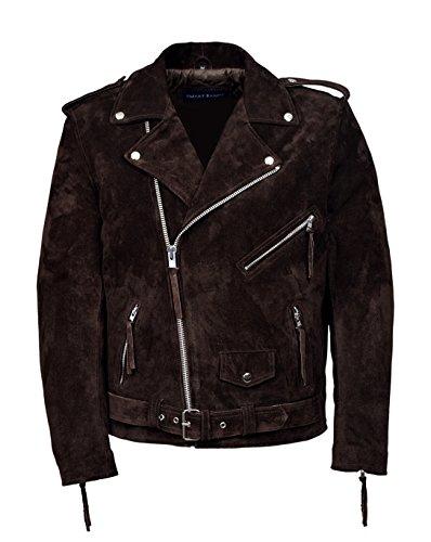 New Men's Brando Brown Suede Men's Classic Motorcycle Biker Real Leather Jacket (L)