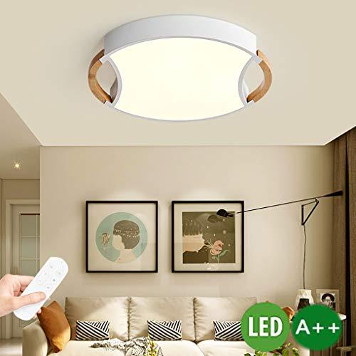 LED plafondlamp Nordic houten plafondlamp dimbaar rond massief hout plafondverlichting met afstandsbediening voor woonkamer slaapkamer eetkamer kantoor kinderkamer lamp plafond licht houten lamp 28W, diameter 50cm