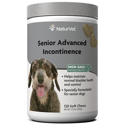 NaturVet Senior Advanced Incontinence Dog Supplement – Helps Support Dog's Bladder Control, Normal Urination – Includes Synergistic Blend of Botanicals – 120 Ct. Soft Chews