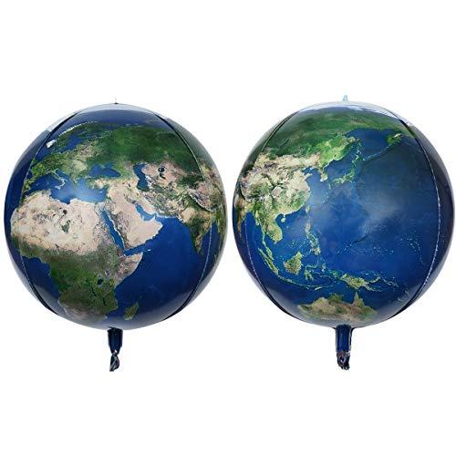16' Planet Earth Balloons Large Round Sphere World Map Balloons Planet Printing Maylar Globe Jumbo Balloons Kids Toys Gifts Classroom Decor Kids Birthday Decor Hangable(2pcs)