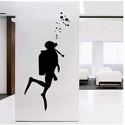 Calcomanías de arte de pared de buceador de fuego para decoración de oficina, disfraz de extintor etiqueta de pared de vinilo decoración de pared de arte mural de oficina 56x23 cm