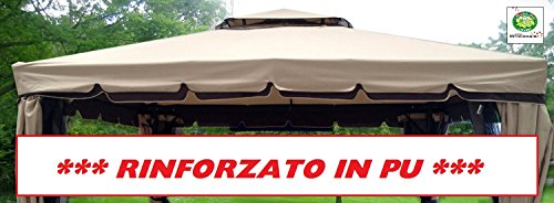 EUROLANDIA 417177B Telo Rinforzato in PU Copertura Gazebo 3X4 400 gr con Camino Antivento Ricambio Antipioggia 3 X 4 Marcato