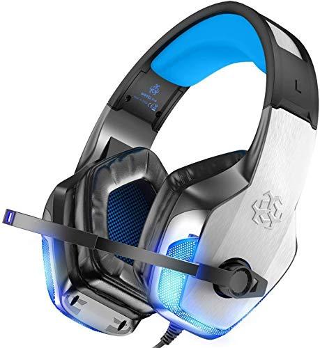 boxiangxu Auriculares para juegos con cabeza iluminados graves pesados auriculares para teléfono móvil