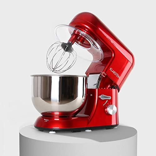 KLARSTEIN TK1 Bella Rossa - Robot da Cucina, Mixer, impastatrice, 1200 W, 1,6 PS, 5,2 L, Sistema serraggio rapido, Ganci a pressofusione, Braccio Multifunzionale, Rosso