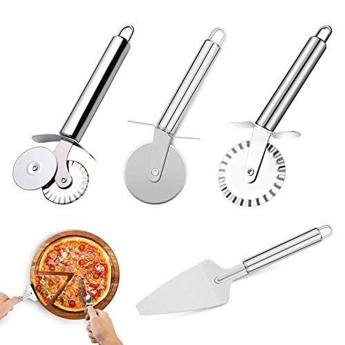 Lvjkes Rueda Cortadora de Pizza, Cortador de Pizza, Cortadores de Pizza Profesional de Acero Inoxidable, Rodillo de Rueda para hornear cocina pasteles caseros de pizza y pan galletas (4 Piezas)
