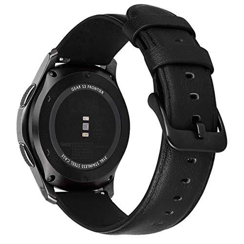 MroTech 22mm Correa Compatible para Samsung Gear S3 Frontier/Classic/Galaxy Watch 46mm Pulsera de Repuesto para Huawei Watch GT Active/Elegant/GT2 46 mm Reloj Banda Cuero Piel 22 mm minimalismo Negro
