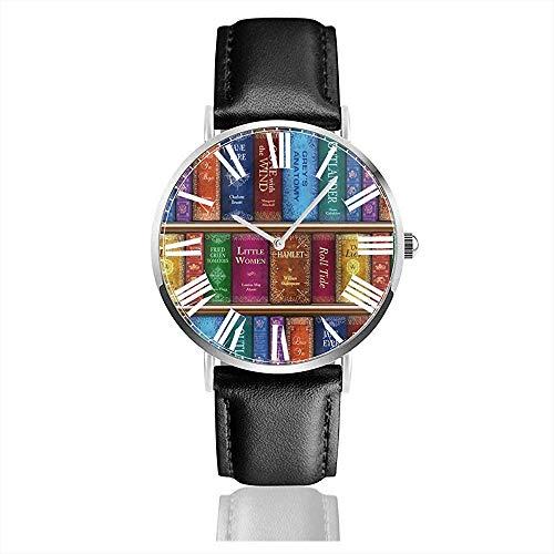 Horloge Polshorloge Teresa's Boekenplank Klassieke Casual Quartz Zwart Lederen Band Horloge Zakelijke Horloges