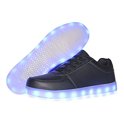 YuanRoad Unisex LED Shoes Light Up Shoes for Women Men LED Sneakers with USB Charging Dancing Shoes SAJIADX518-Black-45