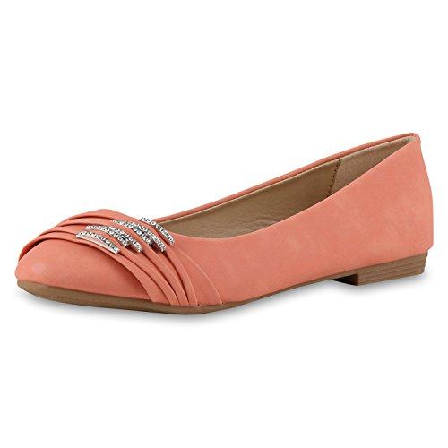 SCARPE VITA Klassische Damen Strass Ballerinas Flats Modisch Klassische Damen Ballerinas Strass Flats Modische Schuhe 160379 Coral Strass 39