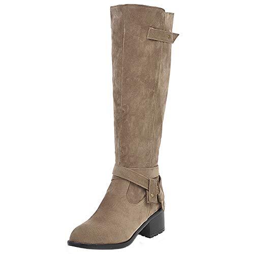 DunaCuna Botas hasta la Rodilla para Mujer Tacones Medios Botas de Montar Cremallera Botas Altas Clásicas con Hebilla Equestrian Boot Khaki Size 40 Asian