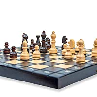 Scacchiera in Legno Professionale Scacchi - Chess, Scacchiere Set Portatile Gioco da Viaggio per Adulti Bambini 26 x 26 cm #1