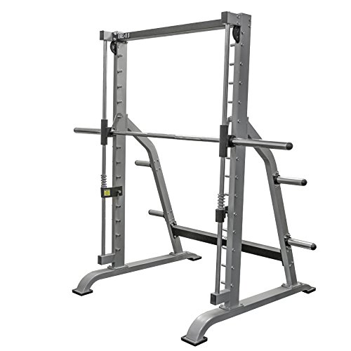 Valor Fitness BE-11 Smith Machine Squat Rack with Olympic Plate Storage Pegs