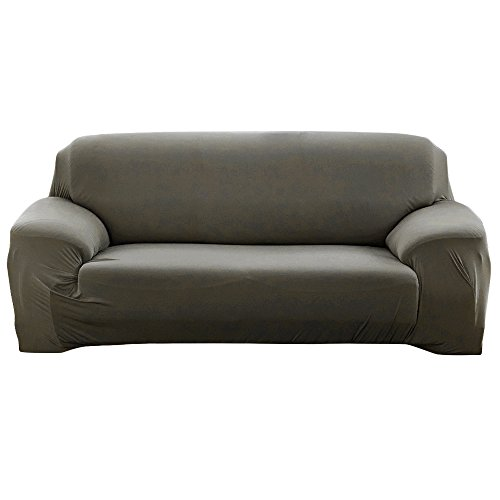 Scorpiuse Stretch Sofa Cover 1-Piece Polyester Spandex Fabric 3 Cushion Couch Slipcover (Sofa, Grey Green)