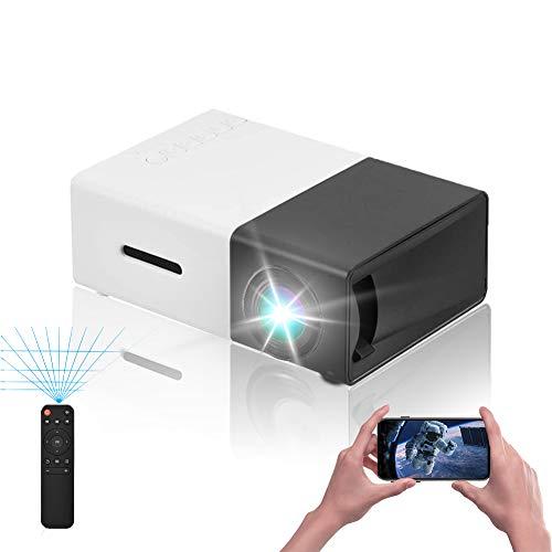 VBESTLIFE Mini Heimkino Portable LED Projektor,HD HDMI Multimedia Player Projektor für Reisen, Camping,Hof, Reisen, Camping,unterstützt HDMI, AV, USB-Eingang(Schwarz + Weiß)