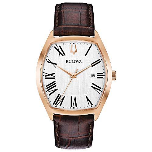 Bulova Tonneau Shaped Rose Gold Dress Watch (Model: 97B173)