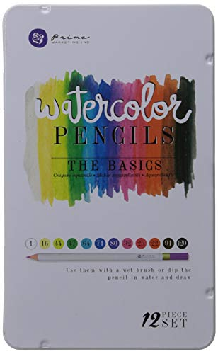 Prima Marketing WPSET-76714 The Basics Mixed Media Watercolor Pencils (12 Pack)