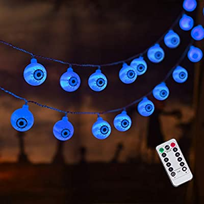 30 LED Halloween Eyeball String Lights, 8 Modes Fairy Lights with Remote, Waterproof Battery Operated Halloween Lights for Outdoor Indoor Party Christmas Halloween Decoration (Blue)