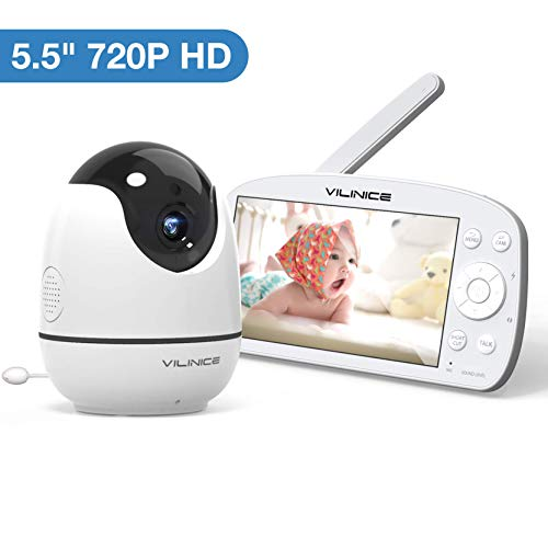 """Baby Monitor, VILINICE 720P HD Video Baby Monitor Large 5.5"""" Display with Camera and Audio Monitor, Night Vision, Two-Way Audio, Temperature Baby Monitor, VOX Voice and Lullabies Monitors"""