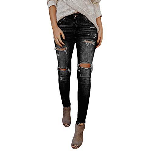 Vectry Jeans Damen Slim Fit Skinny Fit Jeans Jogger Push Up Ankle Straight Leg Mit LöChern Stretch Denim Relaxed Hose Aufnäher Hosen, Loch Leggings Bleistifthosen Jeanshosen(Schwarz,2XL)