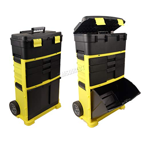 WestWood Portable Tool Box Organiser Trolley | Heavy Duty Wheelie Storage Box Nail Holder Tray with...